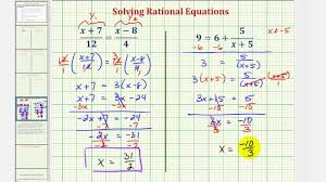 ex 2 solve rational equations algebraically by clearing fractions and solve graphically