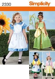 Costume Sewing Patterns Adorable Simplicity Sewing Pattern 48 Child's Alice In Wonderland Costumes