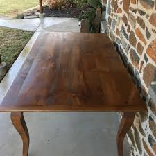 this beautiful french country farmhouse table is made of reclaimed white pine barn wood it measures 72 l x 40 w x 1 thick x 30 h and features cabriole