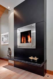 Black Granite Monolithic Fireplace modern-living-room