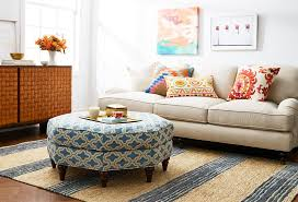 new york octagon ottoman with polyester decorative pillows living room  eclectic and family upholstered otoman