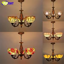 tiffany 3 lights pendant lamp vintage antique stained glass suspension lights sun flower baroque restaurant kitchen