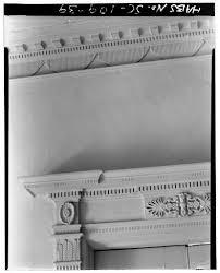 39. SECOND FLOOR: SOUTH CENTER ROOM, DOOR ENTABLATURE AND CORNICE DETAIL -  William Blacklock House, 18 Bull Street, Charleston, Charleston County, SC  | Library of Congress