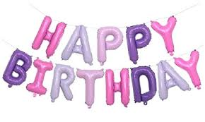 Pink Purple Happy Birthday Balloon Letters