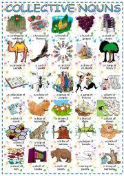 Chart Of Collective Noun English Exercises Collective Nouns Animals
