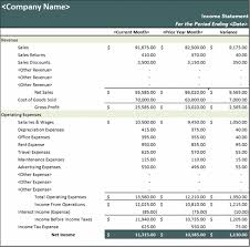 excel income statement download prior year comparative income statement