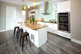 Light Grey White Bamboo Kitchen Floor Laminated Wooden Wall Oven Microwave Combos Mount Range Hoods Electric