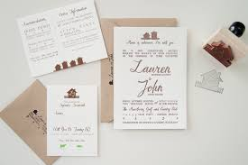At Home Invitation Lauren Johns Rustic Home Letterpress Wedding Invitations
