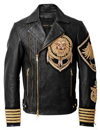 leather jacket with embroidery 549