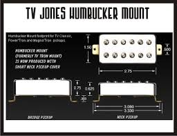tv jones classic. can be mounted into any guitar with standard humbucker pickup cavities. since the cover is completely enclosed, we use nickel/silver alloy tv jones classic