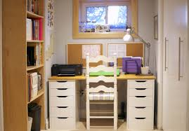 small home office space. Small Room With Nice White Home Office Design Has Table Chair Space