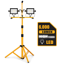 Led Dual Head Work Light With Tripod Costway 60w 6000lm Dual Head Led Work Light W Adjustable Metal Tripod Stand Waterproof