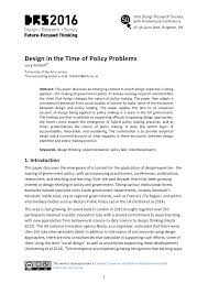 Design Thinking Public Policy Design In The Time Of Policy Problems Drs2016