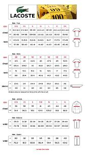 Lacoste Dress Size Chart 13 Abiding Lacoste Shirt Size Chart Uk