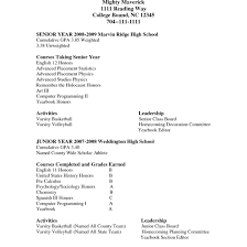 Resume Sample List Of Activities College Extracurricular Template