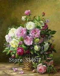 embroidery needlework crafts 14ct unprinted dmc diy rose flower baskets oil painting cross stitch kits set