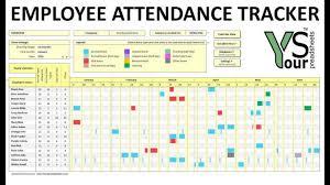 Employee Absence Schedule Excel Template Attendance Tracker 2016