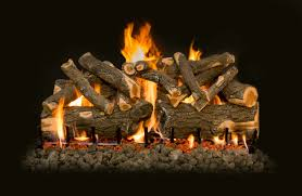 ceramic gas logs burning with flames and embers fireplaces