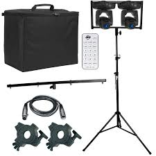 2 american dj pocket pro high output mini moving heads with remote control portable dj lighting stand package