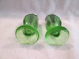 vintage green depression glass footed salt pepper shakers lids art deco style 1725383997