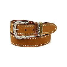 womens laced edge 3 keepers leather belt brown large