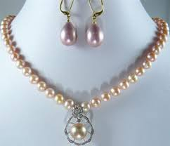 real 7 8mm pink pearl 18kwgp crystal pendant necklace shell pearl drop earrings