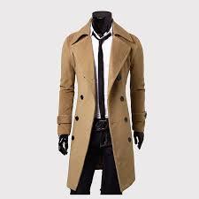 men wool coat quality wool blends long overcoat male spring fall pea coat khaki l