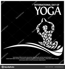 Vector Illustration Black Background Celebrating International Yoga