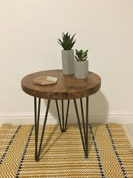 rustic wooden round side table end