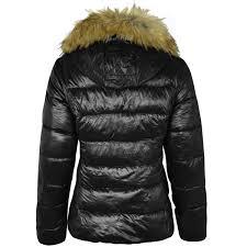 womens las fur hood puffer quilted padded wetlook