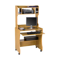 furniture light brown maple wood mobile computer table with shelves and keyboad drawer tall desk shelves