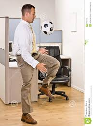 Businessman Playing With Soccer Ball In Office Stock Image Image