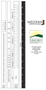 Cowboy Boot Fitting Chart Smoky Mountain Boot Fit And Size Chart Western Outlets