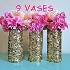 9 gold glitter glass cylinder vases wedding centerpieces gold wedding gold vases gold party decorations