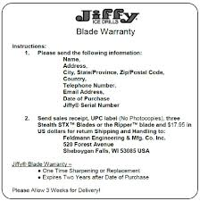 Jiffy On Ice Blade Warranty