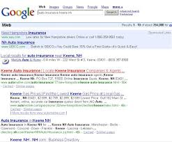 it ilrates the results of the google search with the search phrase auto insurance keene nh