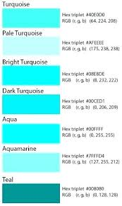 Teal Blue Color Chart Shades Different Of A List With Names
