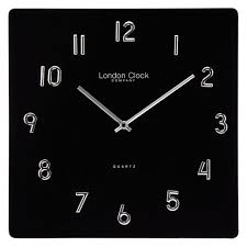 london clock company square black glass wall clock