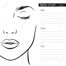 Makeup Charts Free Beautiful Woman Portrait Face Chart Makeup Artist Blank Template