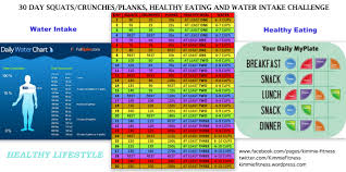 30 Day Squat Crunch Plank Healthy Eating And Water Intake