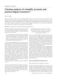 Pdf Citation Analysis Of Scientific Journals And Journal Impact