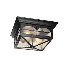 2 light aged iron outdoor flush mount