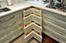 Pretty Corner Kitchen Drawers With L Shaped Kitchen Cabinets Designs Added  White Marble Countertops As Small Space Kitchen Ideas
