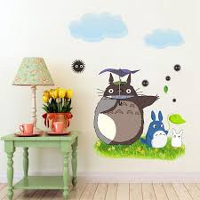 new poster totoro wallpaper cartoon animation vinyl totoro wall stickers for kids room cafe bar home decoration wall decors wall design stickers from jiguan