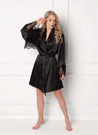 Домашняя одежда <b>Халат легкий</b> в <b>черном</b> цвете купить в ...