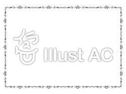 エレガント可愛い飾り枠白黒イラスト No 108656無料イラストなら