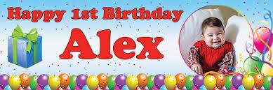 1st birthday banner happy 1st birthday banner balloons confetti theme