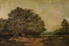 ancient italian painting of the 19th century work oil on canvas depicting pleasant landscape with