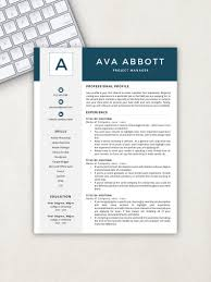 Resume Template Monogram Resume Resume Template Instant Download Resumes Cover Letter References Included Mac Pc Compatible
