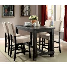 furniture of america telara contemporary antique black counter height chair set of 2 antique black fabric